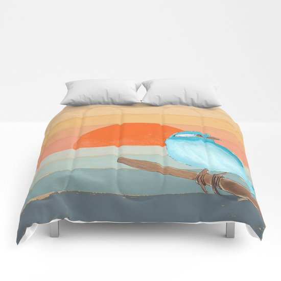 Blue Bird by the Water Comforters