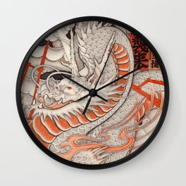 Japanese tattoo Typhoon dragon Wall Clock