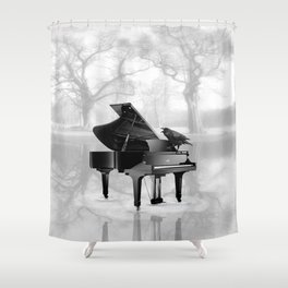 Crow on Grand Piano in Water, Musical Interlude A225 Shower Curtain