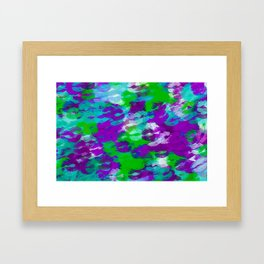 purple blue and green kisses lipstick abstract background Framed Art Print