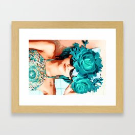 Lovers and flowers Framed Art Print