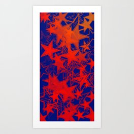Vector blue background in red stars. For registration of paper or banners. Art Print