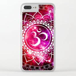 Ohm Mandala : Galaxy Mandala Red Fuchsia Pink Clear iPhone Case