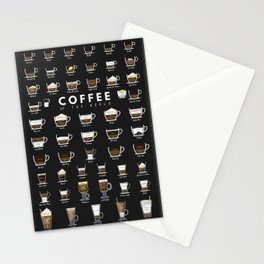 Coffee Types Chart Stationery Cards