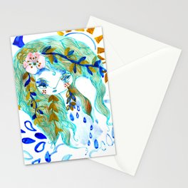 Bohemian night lady blue spirit Stationery Cards