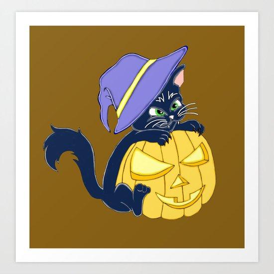 Mischievous Black Cat and Pumpkin Art Print