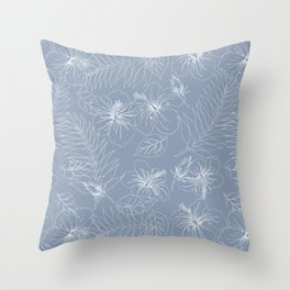 Seamless Exotic Hibiscus Tropical Palm Leaves Throw Pillow