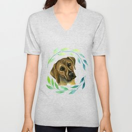 Rhodesian Ridgeback with a Wreath Watercolor Painting Unisex V-Neck