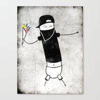 banksy Canvas Prints featuring Banksy by Super Lombrices