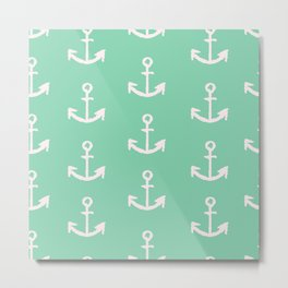 Anchors - mint green Metal Print