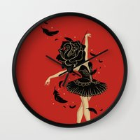 black swan Wall Clocks featuring Black Swan by Enkel Dika