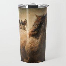 Horses Running Digital Art Travel Mug