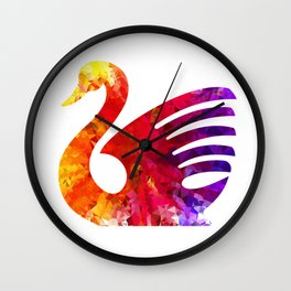 Swan Triangular Geometrical Color Splash Wall Clock