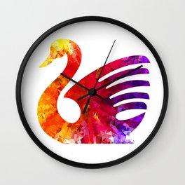 Swan Triangular Geometrical Color Splash Wall Clock