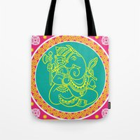 ganesh Tote Bags featuring Ganesh by Chetna Shetty
