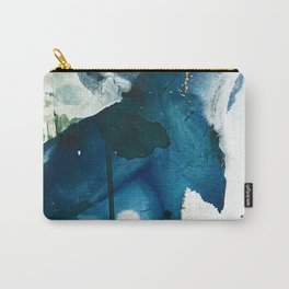 Untamed: a pretty, minimal, abstract painting in blue, white and gold by Alyssa Hamilton Art  Carry-All Pouch