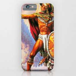 Caballero Aztec Warrior and Eagle Animal Spirit by Jesus Helguera iPhone Case