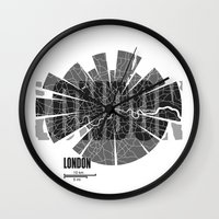 london map Wall Clocks featuring London Map by Shirt Urbanization