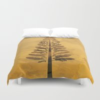 arya Duvet Covers featuring Feather Tree in warm colours by Hinal Arya