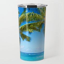 Coconut Palm tree on the sandy Poipu beach in Hawaii, Kauai Travel Mug