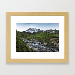Edith Creek and Mount Rainier Framed Art Print
