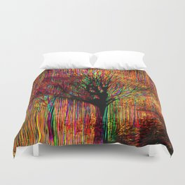 Abstract tree on a colorful background Duvet Cover