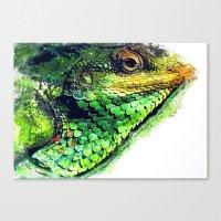 chameleon Canvas Prints featuring chameleon by jbjart