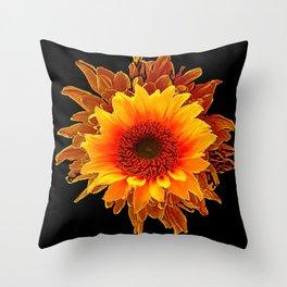 Decor Black & Brown Golden Sunflower Art Throw Pillow