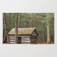cabin Area & Throw Rugs featuring Smoky Cabin by Karyl's Art Studio