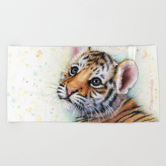 Tiger Cub Watercolor Painting Beach Towel