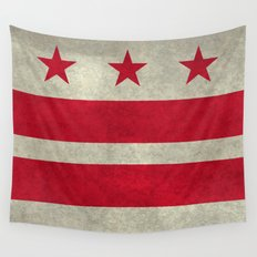 Washington D.C flag with worn vintage textures Wall Tapestry