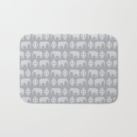 Elephant geometric southwest modern monochromatic grey children kids nature safari pattern  Bath Mat