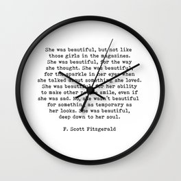 She Was Beautiful, F. Scott Fitzgerald, Quote Wall Clock