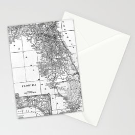 Vintage Map of Florida (1909) BW Stationery Cards