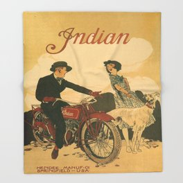 Vintage poster - Indian Motorcycles Throw Blanket