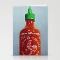 sriracha Stationery Cards featuring Sriracha Oil Painting by The GRYLLUS