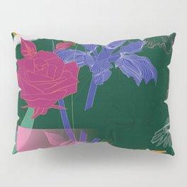Dark Fall Flower Pattern for Home Goods Emerald Green Magenta Pillow Sham