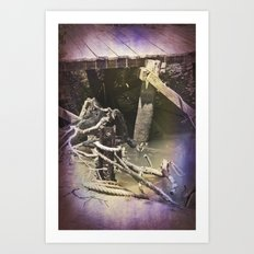 Old wharf and ropes on a river. Art Print