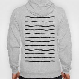 Black white hand painted geometrical stripes Hoody