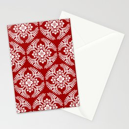 Japanese Medallion Pattern, Deep Red and White Stationery Cards