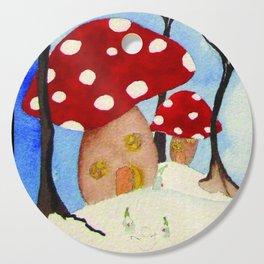 Mushroom Houses in Winter by Twelve Little Tales Cutting Board