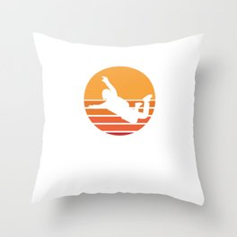 Skydive Retro Vintage Extreme Sports Skydiver Parachute Skydiving Gifts Throw Pillow