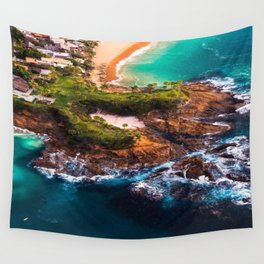 Sky view of a special beach Wall Tapestry