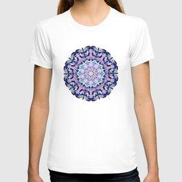blue grey white pink purple mandala T-shirt