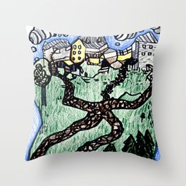 Town Paths Throw Pillow