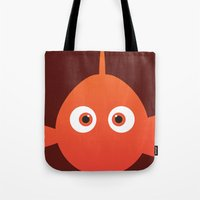 finding nemo Tote Bags featuring PIXAR CHARACTER POSTER - Nemo - Finding Nemo by Marco Calignano