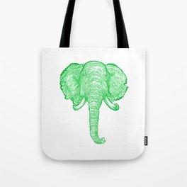 Green Elephant Illustration Tote Bag