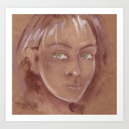 Woman with green eyes look into the soul. Pastel Art Print