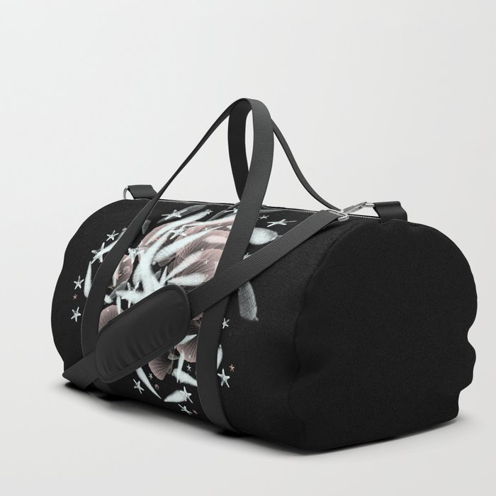 high contrast shells and starfishes Duffle Bag