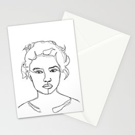 Face single line drawing illustration - Elvie Stationery Cards